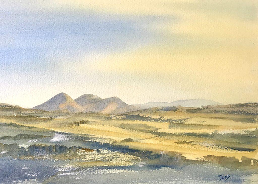 John Onslow, 'Eildon Hills from Blackcastle Hill', watercolour