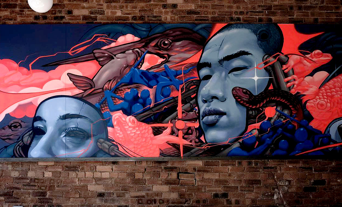 Mark Worst, mural for 'Love and Chaos' at The Alchemy Experiment, Glasgow
