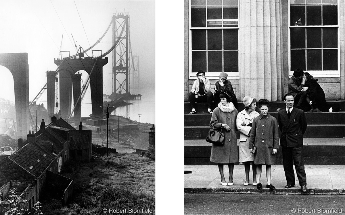 Robert Blomfield, 'Forth Road Bridge under construction' and 'Sitting, Standing, Kissing', Scottish National Gallery, photographs