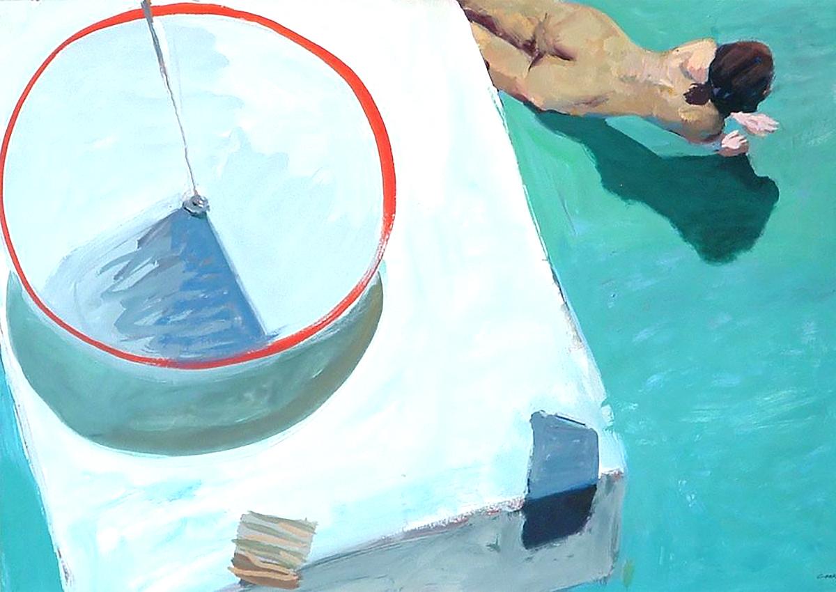 Ian Cook, 'Figure Lamp and Table', gouache
