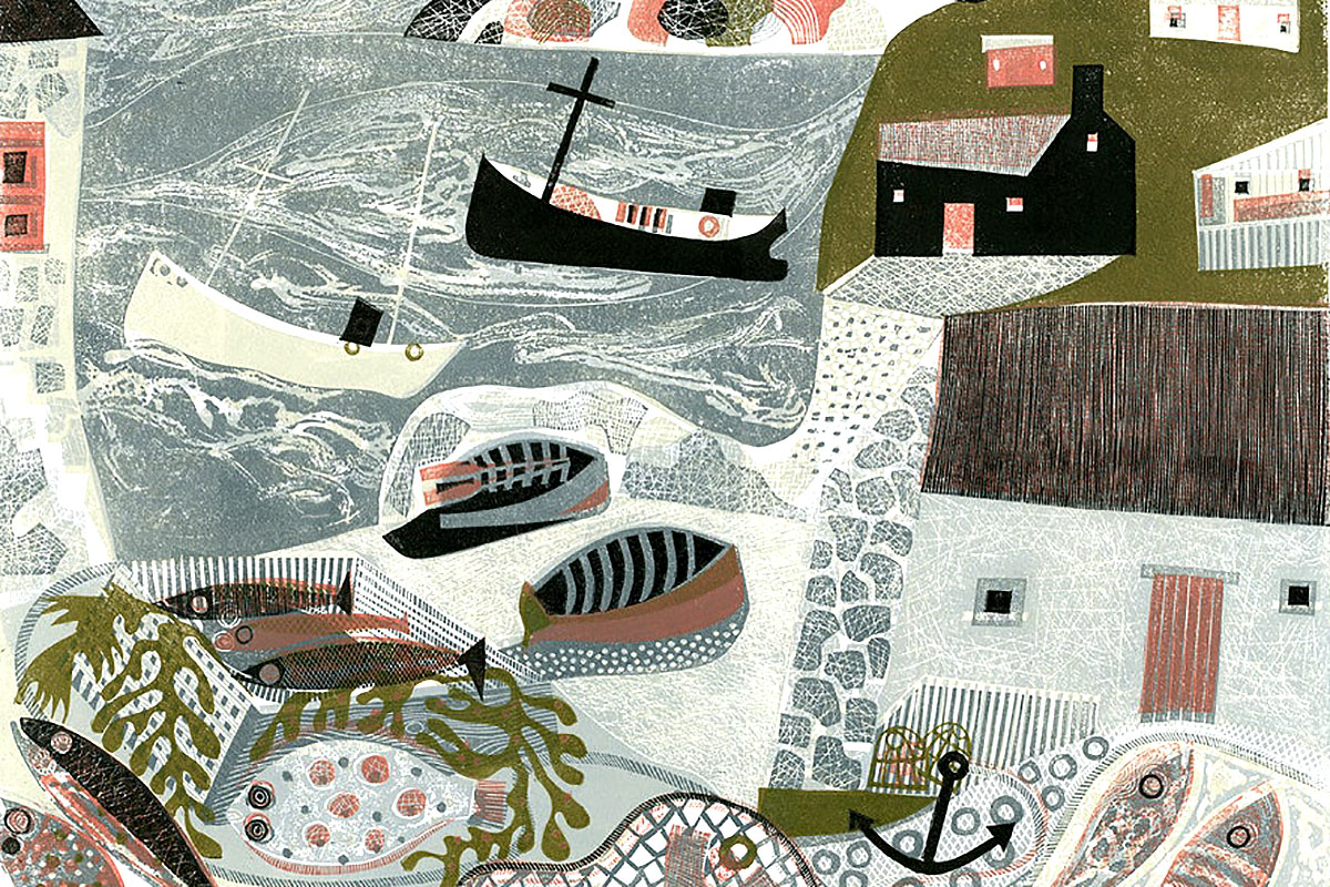 Melvyn Evans, 'Fish and Nets', linocut