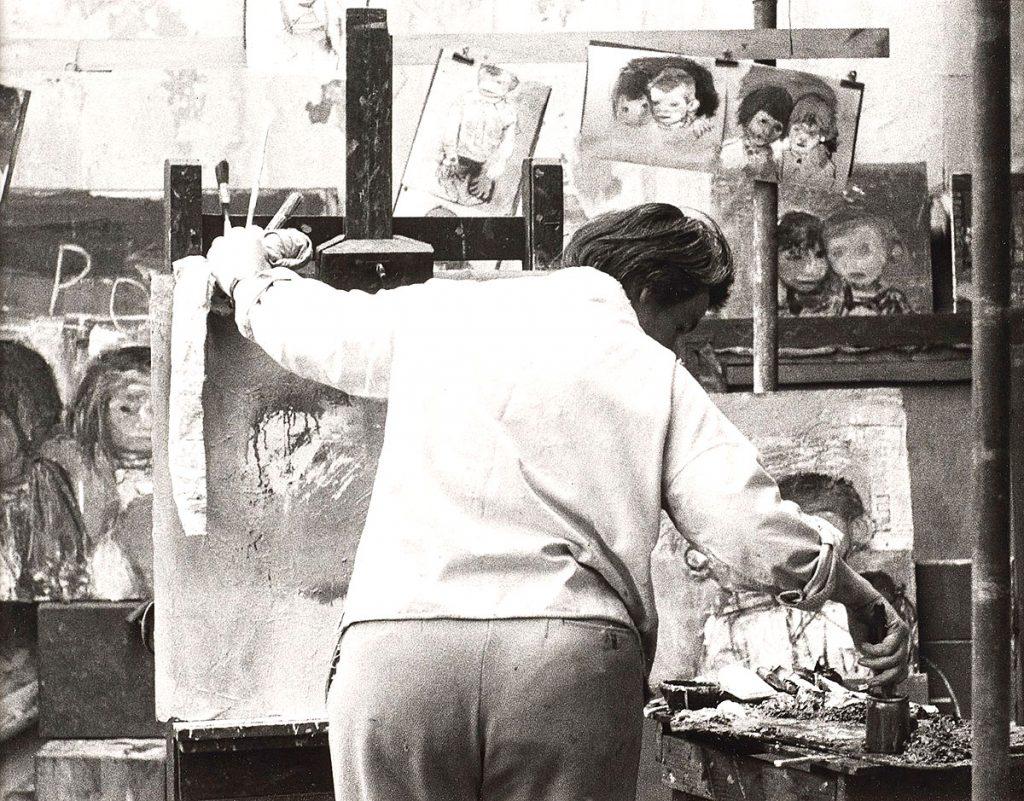 Oscar Marzaroli, 'Joan Eardley painting in her Townhead studio, 1962', original vintage print