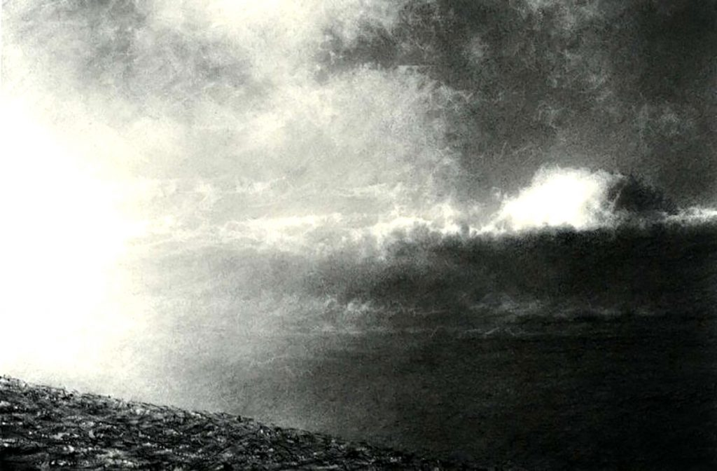 Philip Edwards, 'A Break in the Cloud on Creag Leacach', charcoal