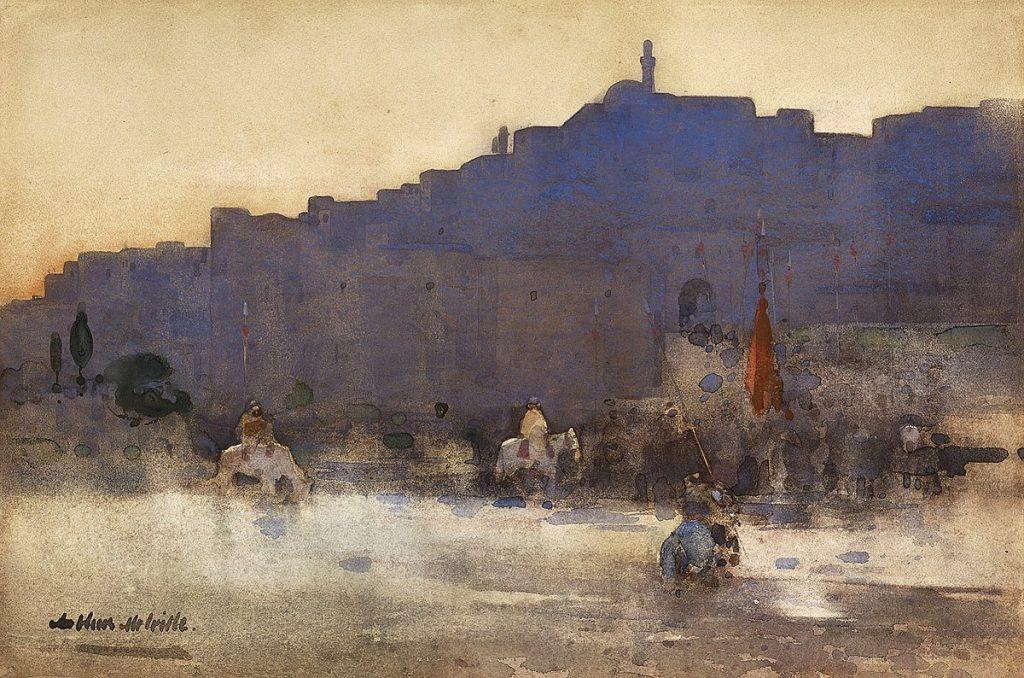 Arthur Melville RSW, 'Mosul at Dawn', watercolour