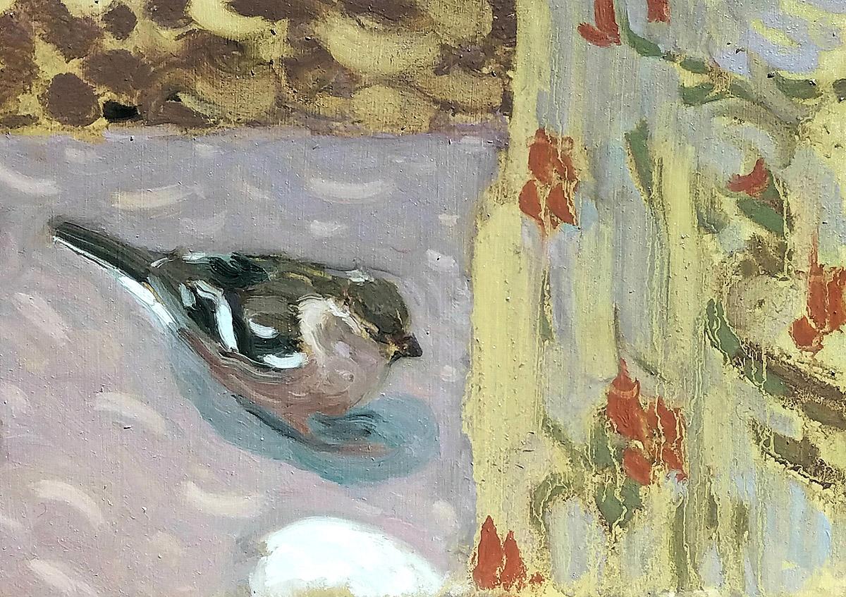 Caroline Hunter, 'Bird Table' oil