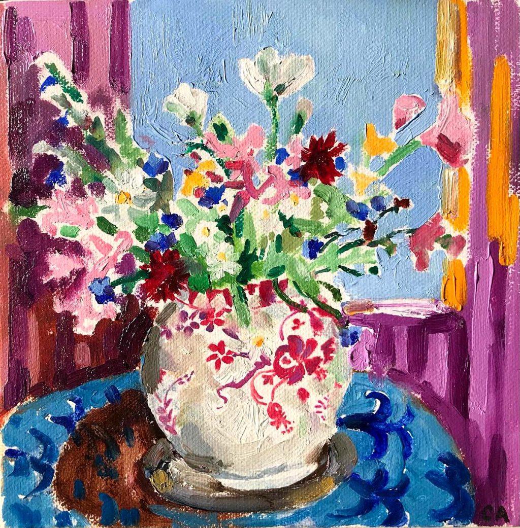 Clare Arbuthnott, 'Flowers In Purple Interior', oil on canvas