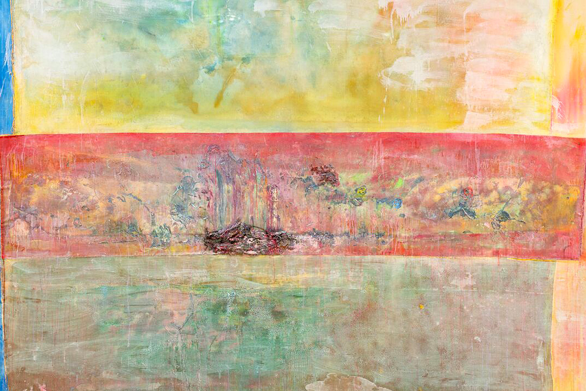 Frank Bowling, 'Swimmers', acrylic and acrylic gel and found objects on collaged canvas