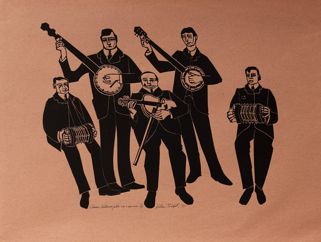 Willie Rodger, 'Gilmour Whitecross' Father was a Musician', linocut