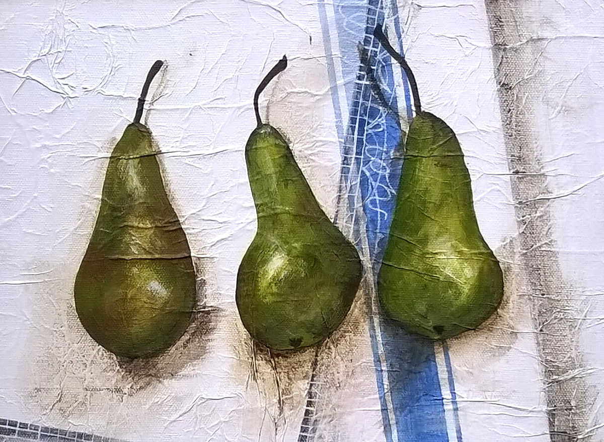 Janet Cleghorn, 'Trio of Pears', mixed media on canvas
