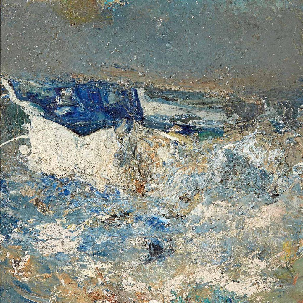 Joan Eardley RSA, 'Sea, Catterline', oil on board