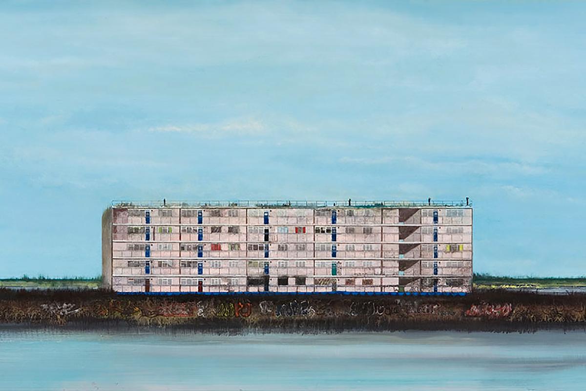Jock McFadyen, 'Pink Flats', oil on canvas, courtesy of Lucid Plane