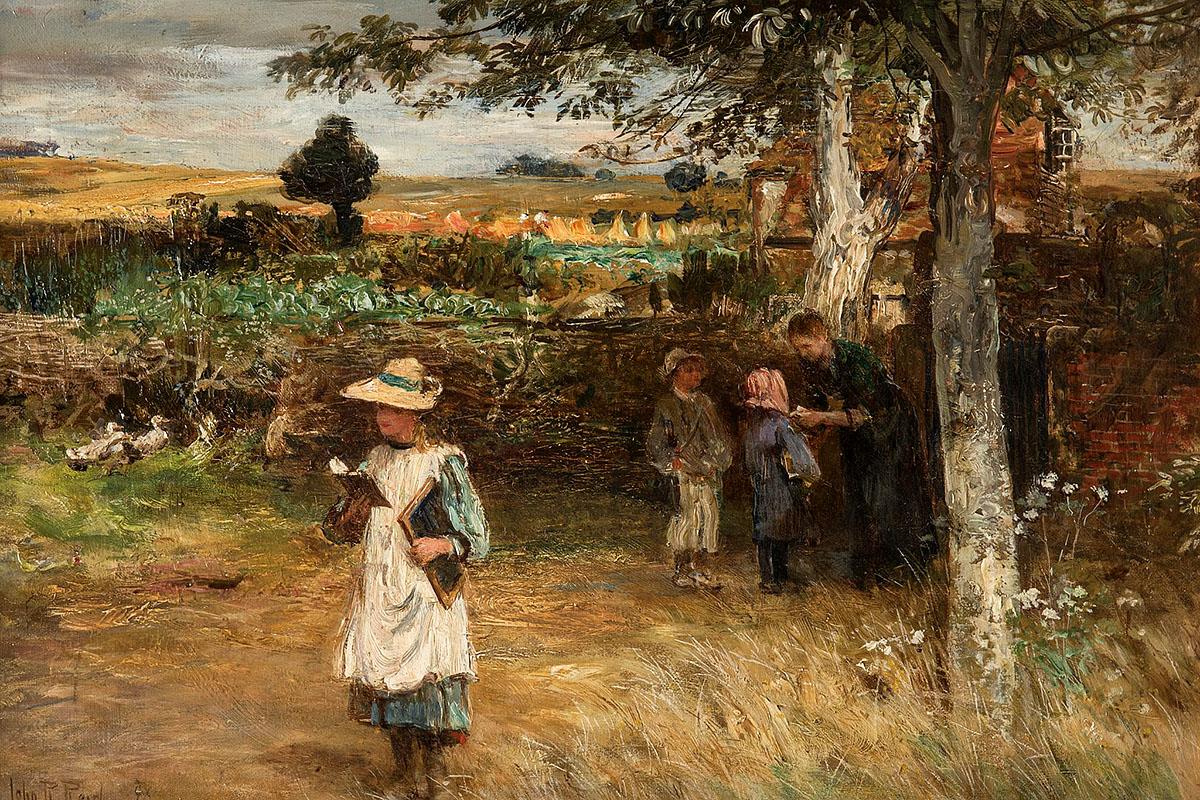 John Reid, 'Leaving School', oil on canvas