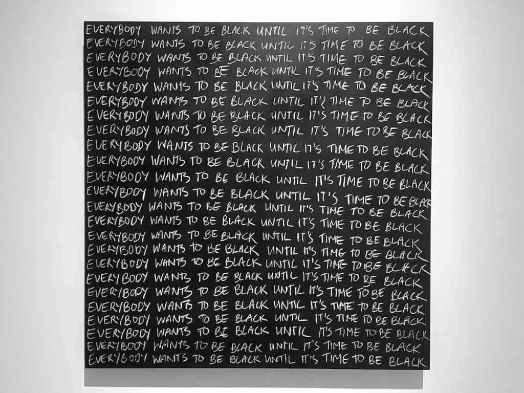 Larry Achiampong, Detention (series) 2016 - ongoing, blackboard and chalk