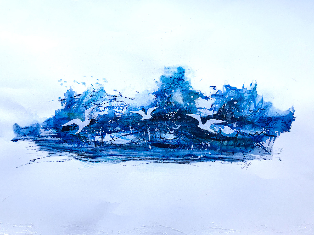 Emma Jones, 'My Blue Mind', mixed media and collage