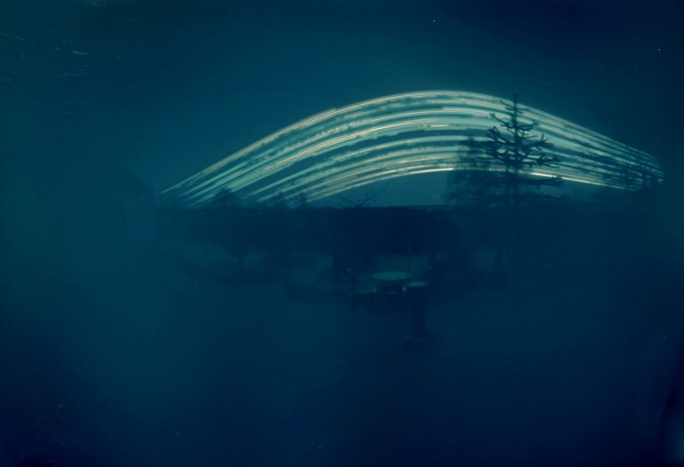 Solargraph image from 'Northern Exposures', Coleman & Hodges' installation showing Moray residents' single four-month exposures, James Milne Institute, Findhorn, 6 - 8 Aug James Milne Institute, Findhorn