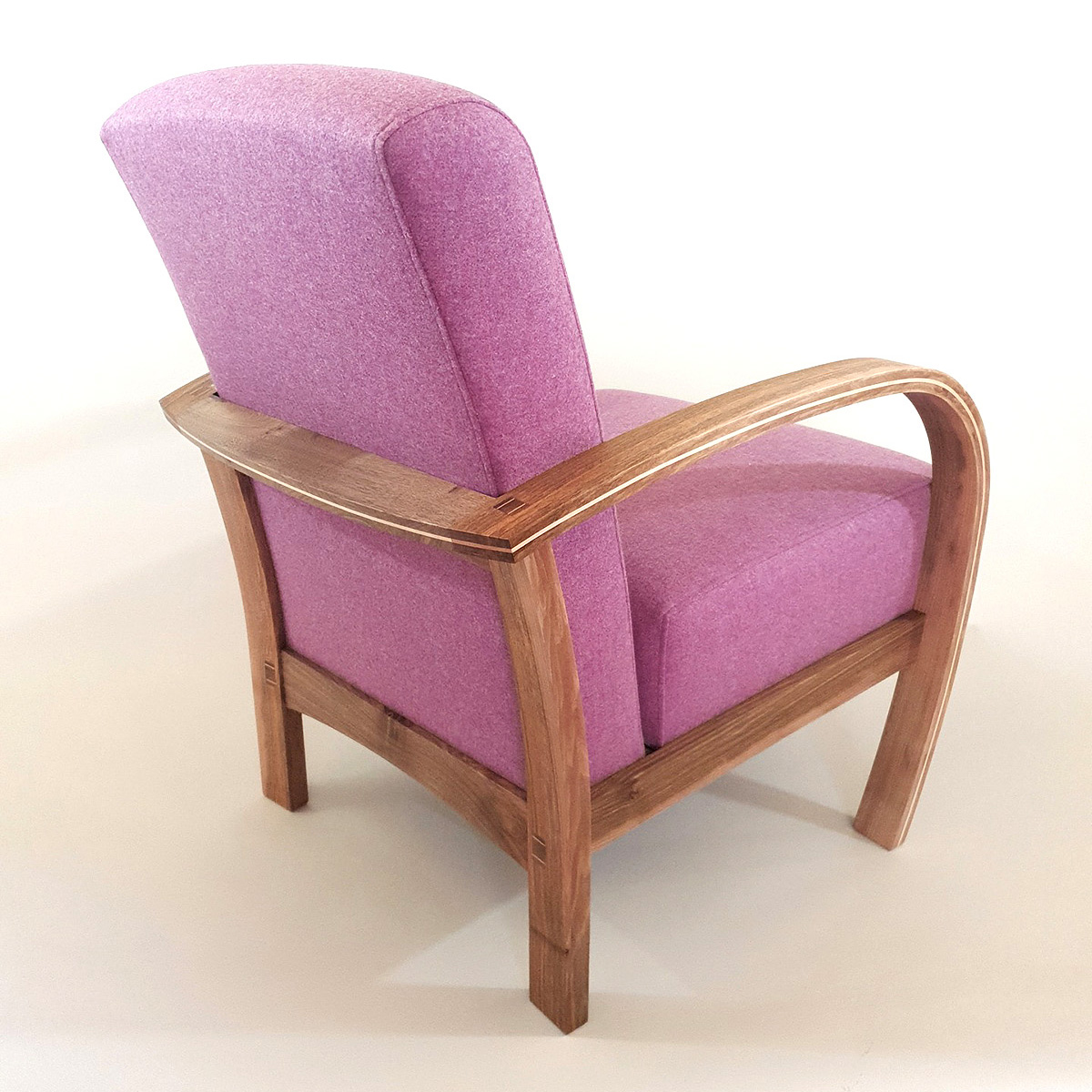 Tom Cooper, 'Deco Flow' armchair, walnut, fabric