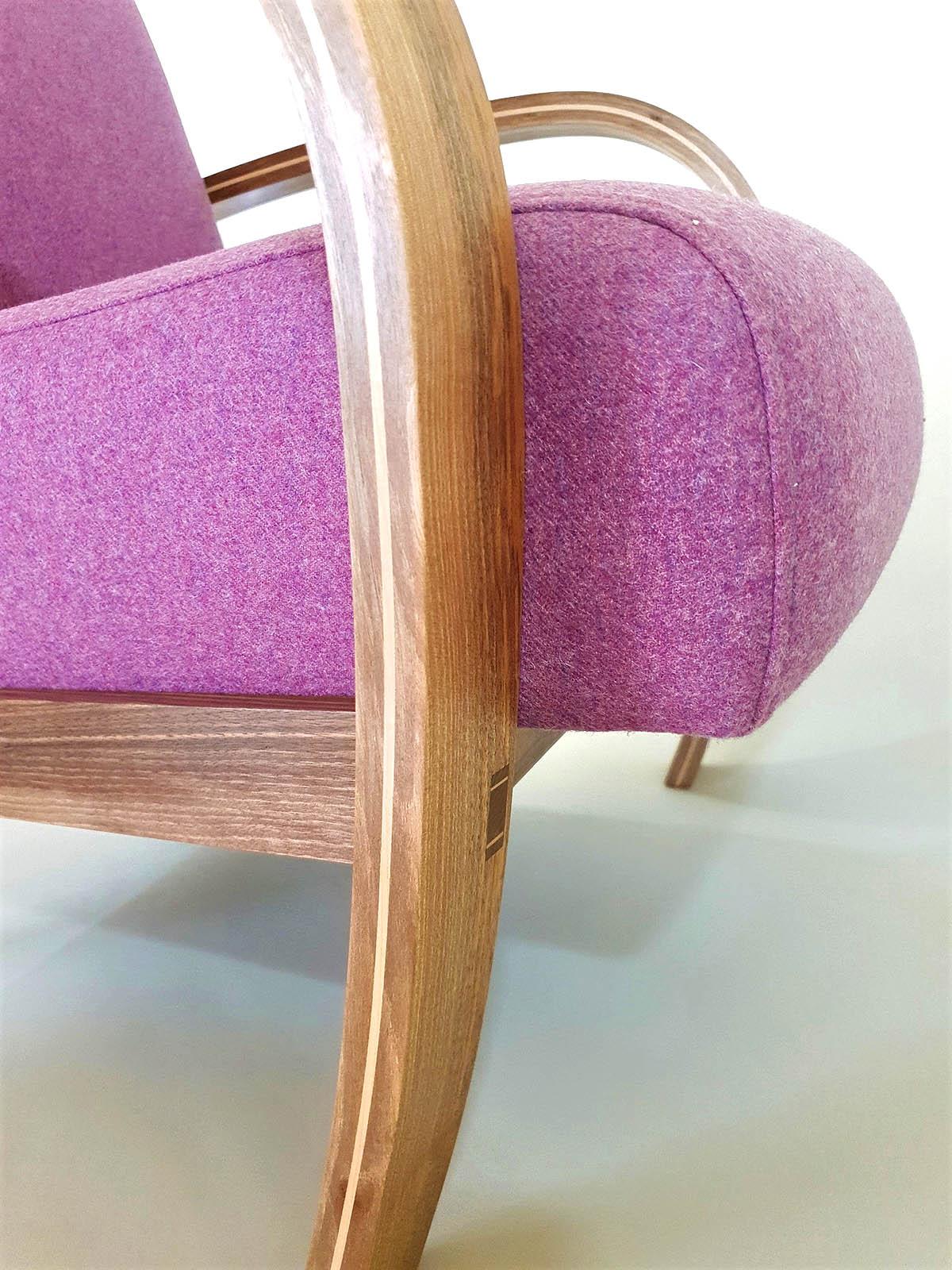 Tom Cooper, 'Deco Flow' armchair, walnut, fabric (detail)