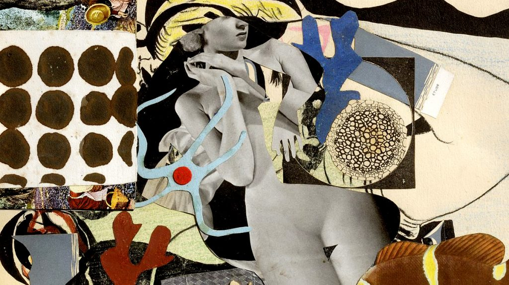 Eileen Agar, 'Erotic Landscape', 1942, collage on paper, private collection. © The Estate of Eileen Agar. Photograph courtesy Pallant House Gallery, Chichester © Doug Atfield