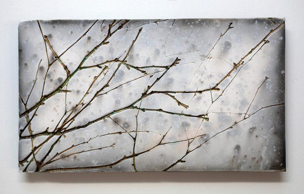 Helen Michie, 'Winter Birch', raku wall piece, front