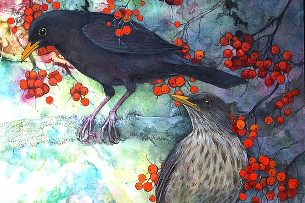 Helen Welsh, 'Pair of blackbirds', acrylic and mixed media on silk
