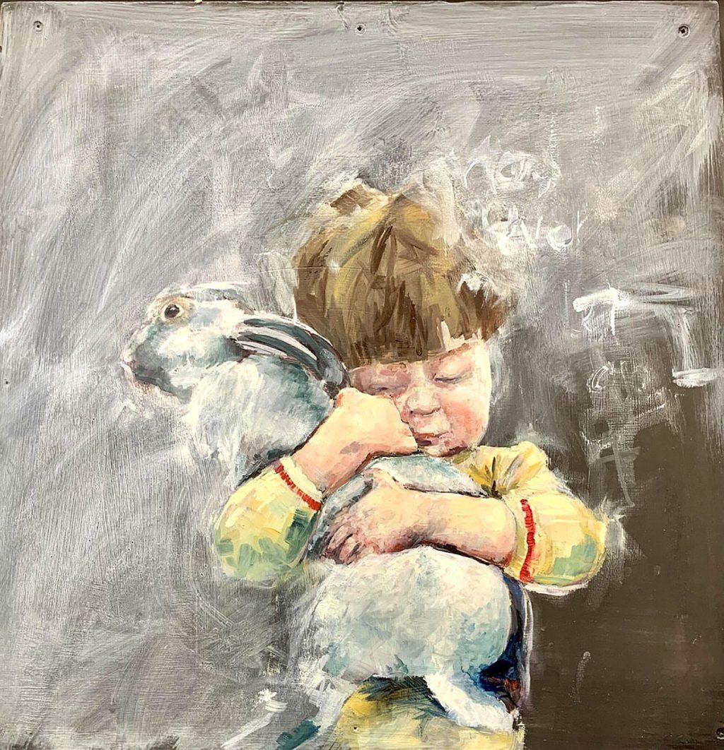Lindsay Madden, 'Never let Go', oil on blackboard