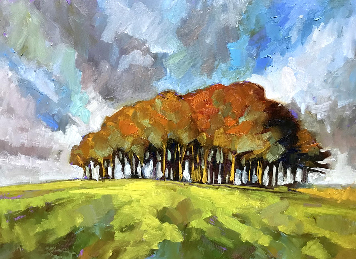 Rupert Peploe, 'Beach Trees on Hill', oil on board