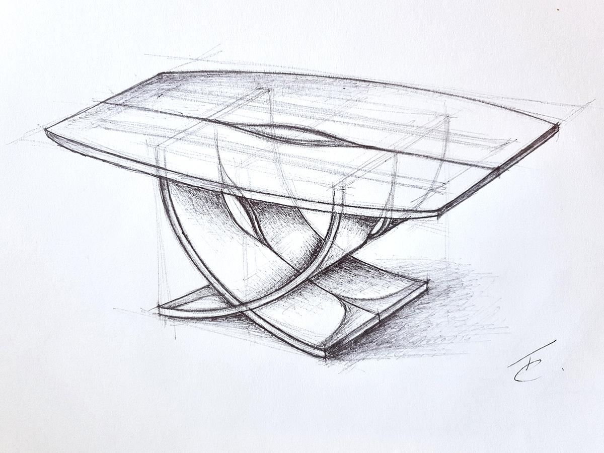 Tom Cooper, 'Leaf Flow' table, drawing