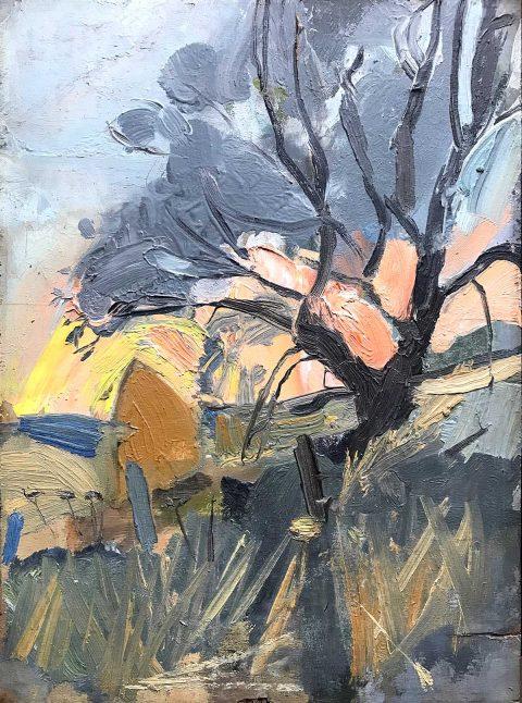Joan Eardley, 'Tree and Haystacks', oil on board