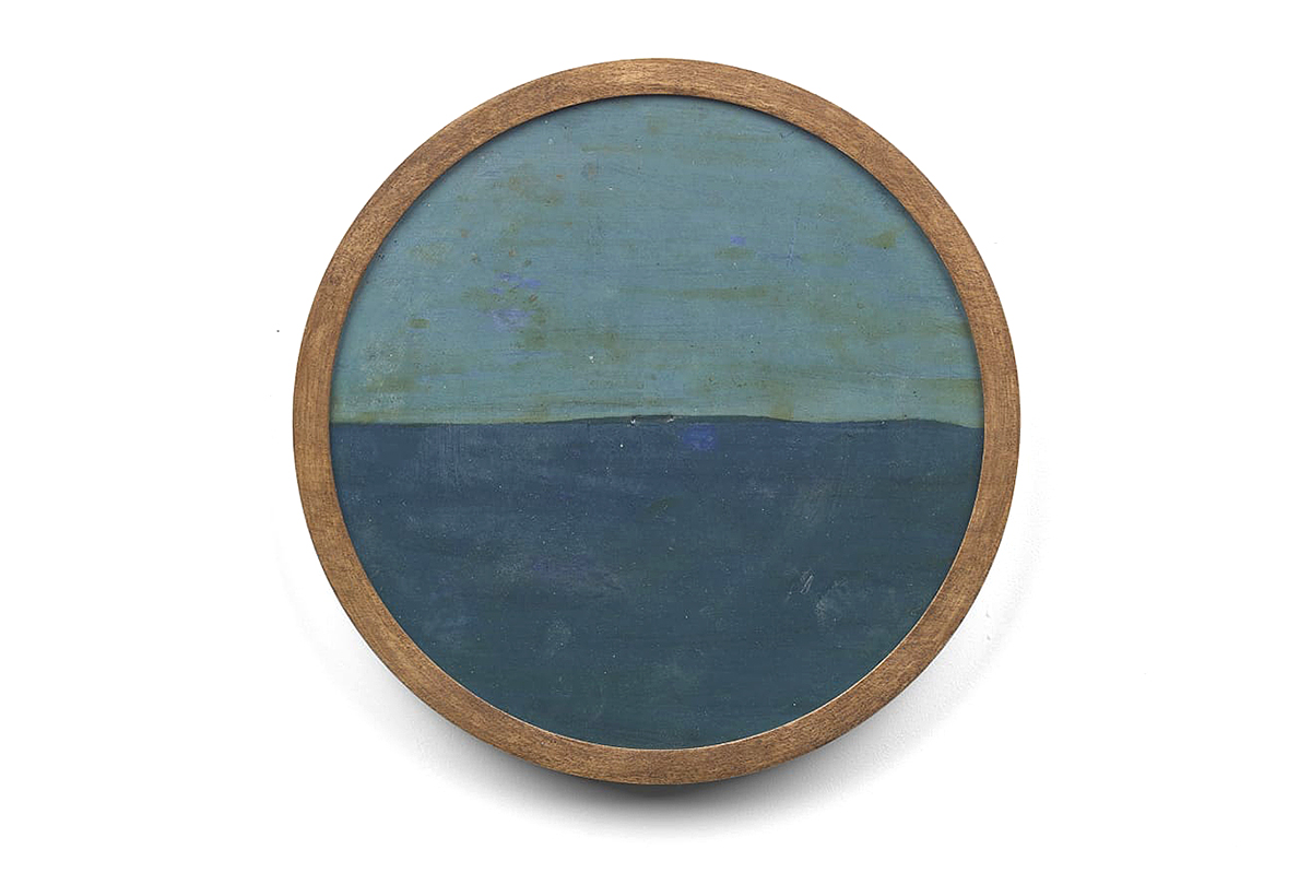 Frank Walter, 'Untitled (Light Green - Grey Sky And Dark Blue Sea)', oil on biocomposite material, backed with masonite