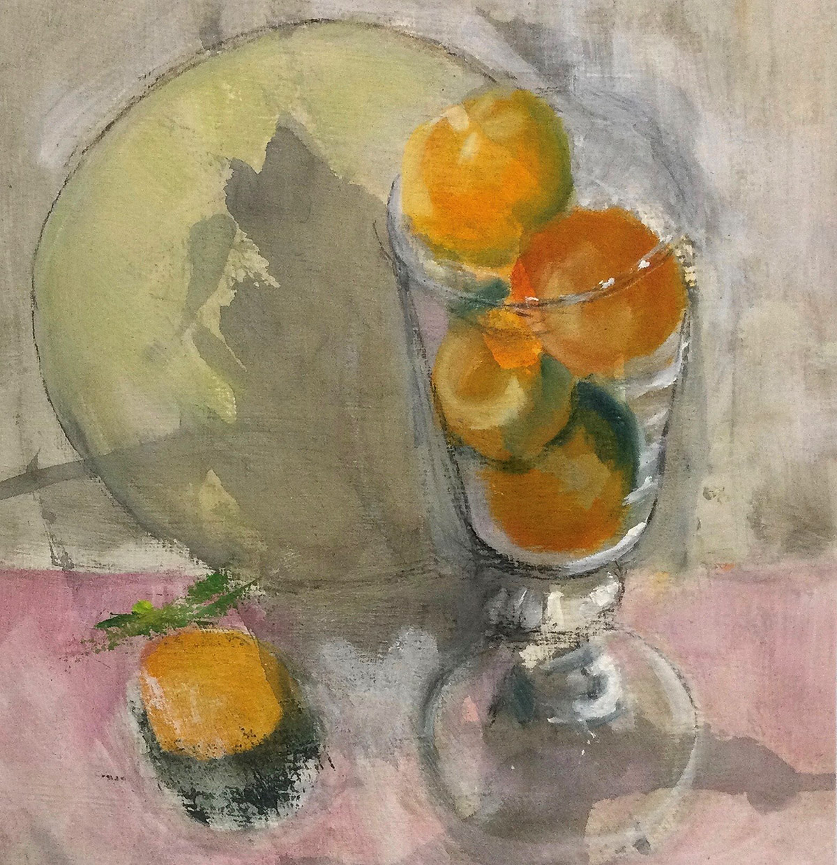 Mary Lambie, 'Satsumas in a glass', oil on paper and cradled board
