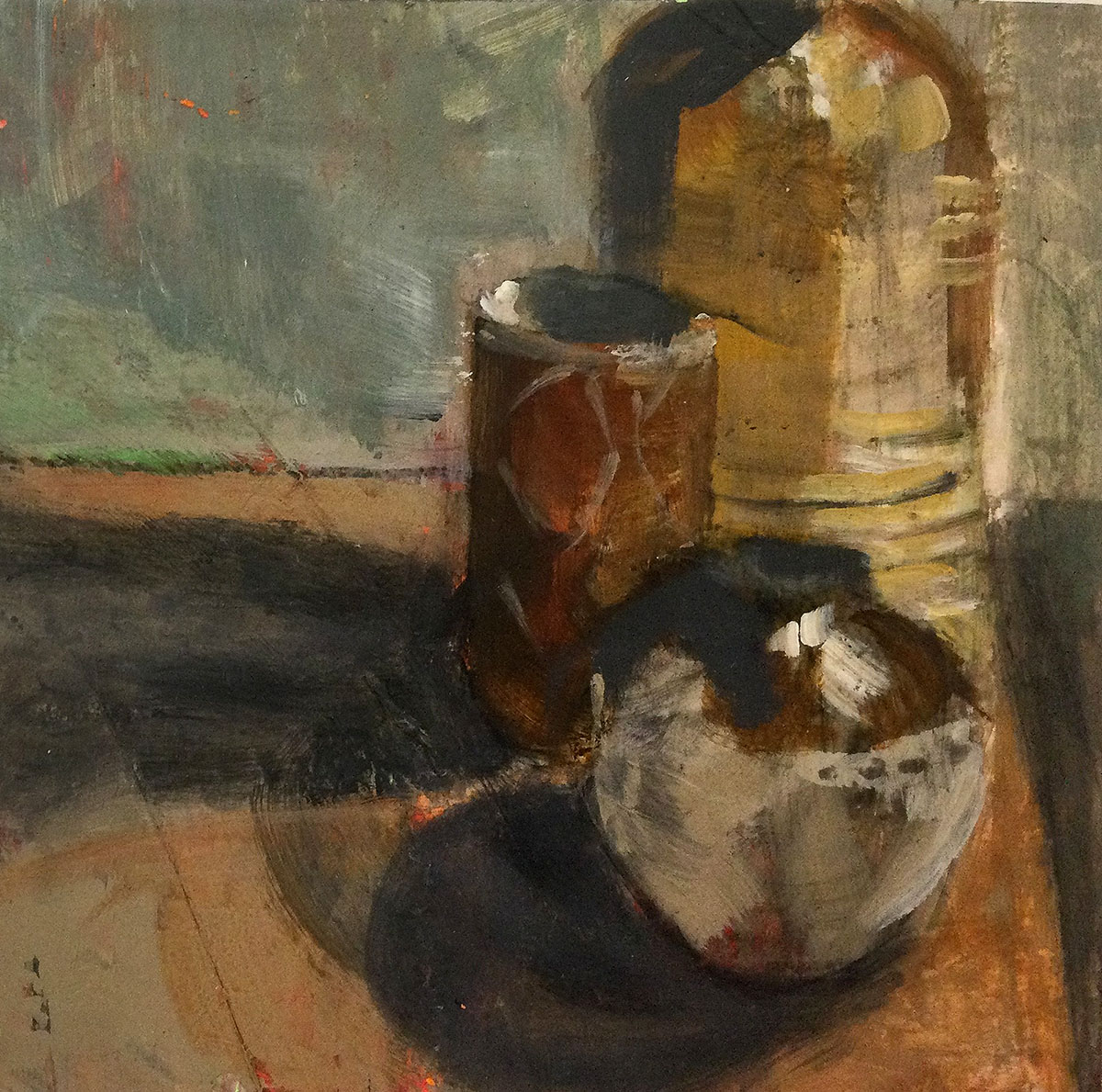 Mary Lambie, 'Three Brown Bowls', oil on paper and cradled board