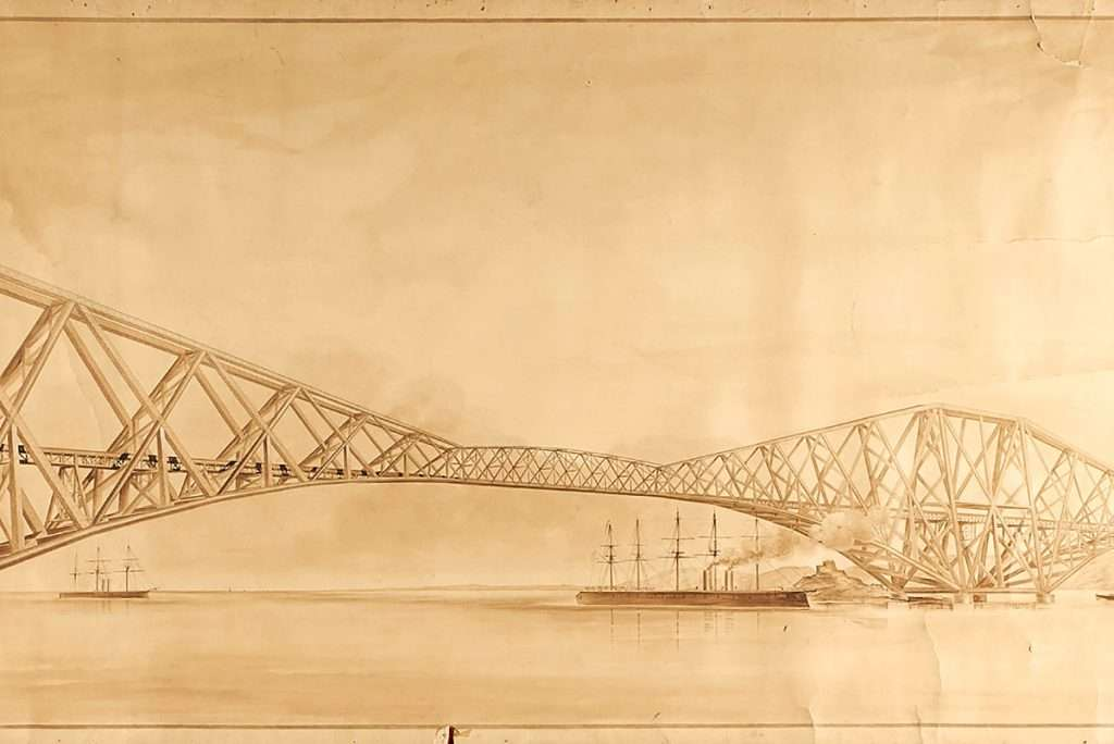 Forth Rail Bridge, Scottish School Illustration, circa 1890