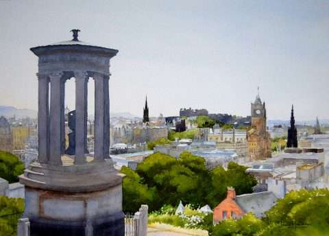 Iain Harkess, 'Edinburgh from Calton Hill', watercolour