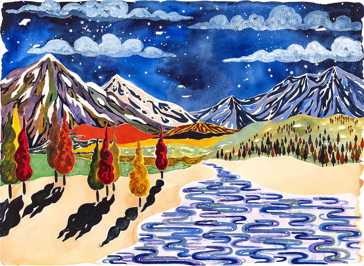 Freya Douglas-Morris, 'The sky was filled, the water shining', watercolour and gouache on paper