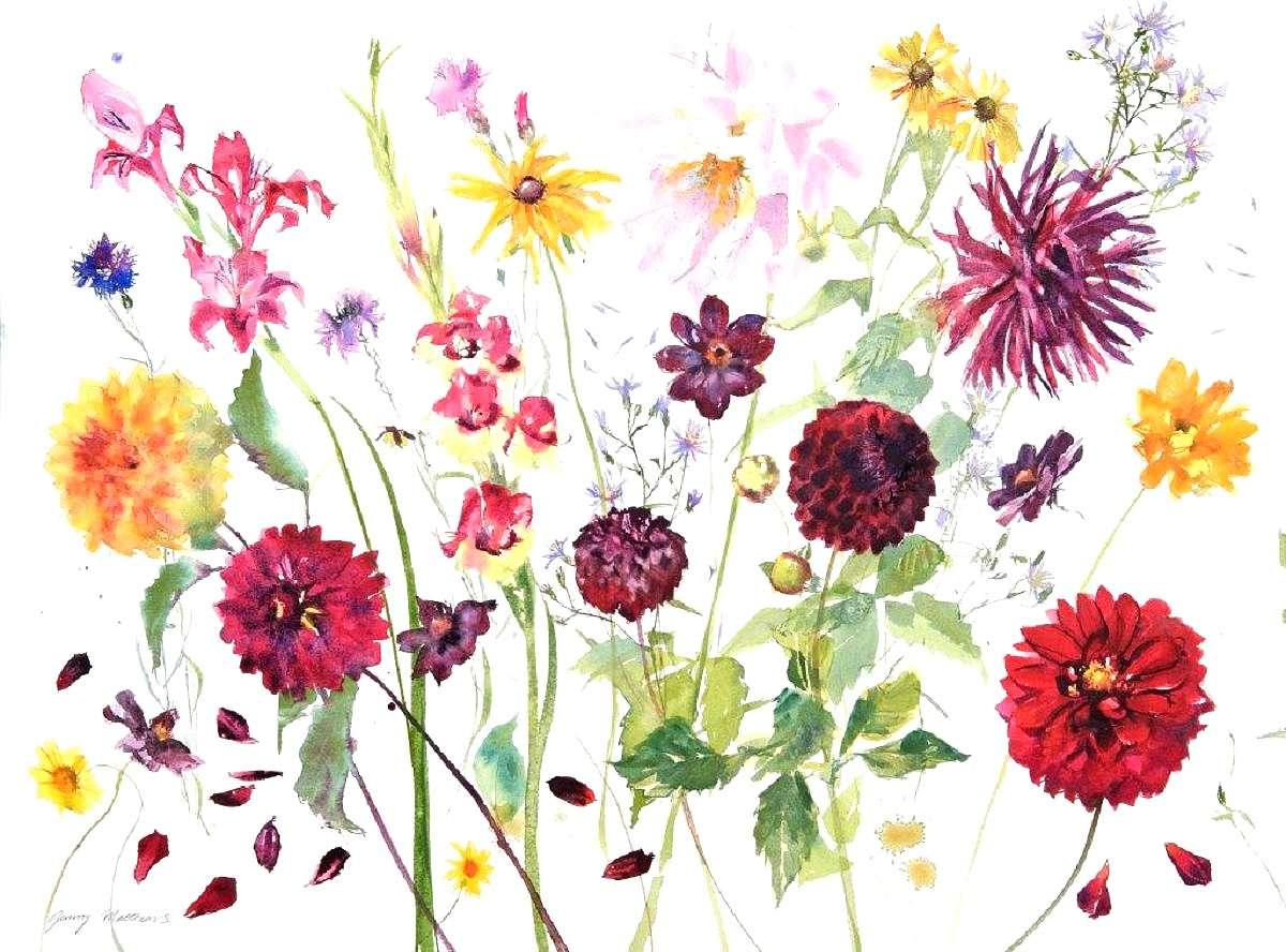Jenny Matthews, 'Dahlias', watercolour on paper