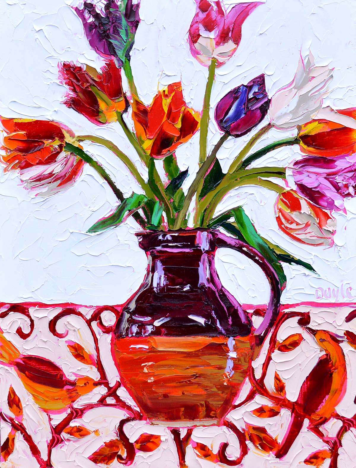 Lucy Doyle, 'Open Tulips', oil on canvas