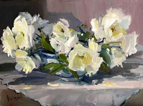Marion Drummond, 'Roses from my Garden Wall', oil on board.jpg