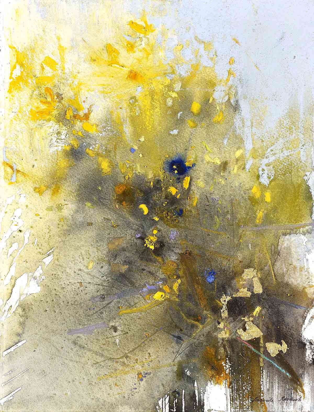 Pascale Rentsch, 'Emerging Colours, Gorse Flowers', gold leaf and mixed media on Canson watercolour paper