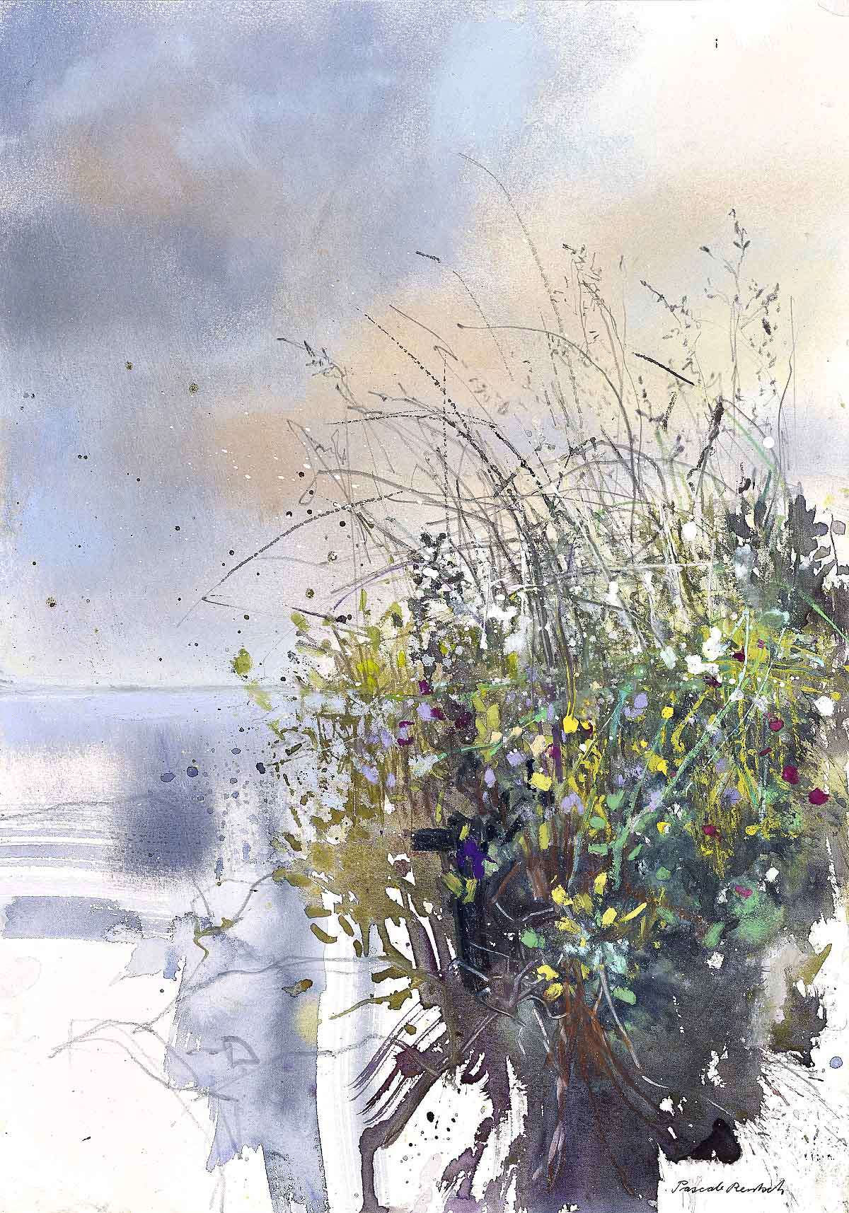 Pascale Rentsch, 'Grasses and Wildflowers by the Loch', mixed media on Canson watercolour paper