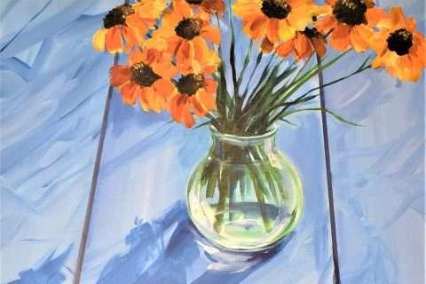 Deborah Fallas, 'Orange flowers on blue table', detail