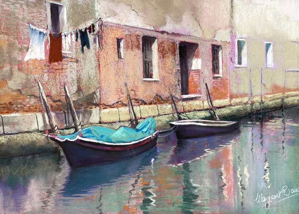 Margaret Evans, 'Quiet Waters Venice', pastel and gouache