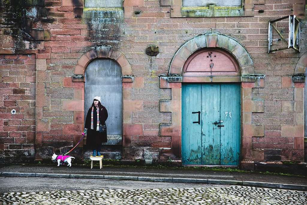 Participants in Annan workshop, collaborating with Beautiful Materials to explore the High Street. Image by Bash Art Creative